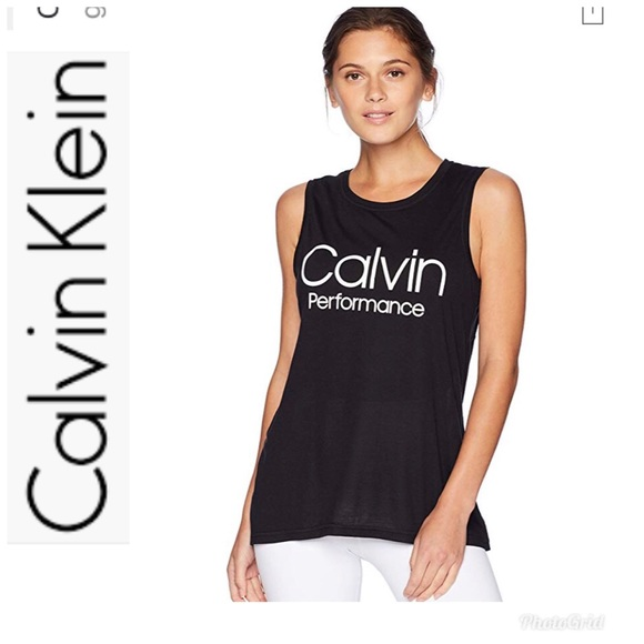 ebe39bef2f Calvin Klein Tops | Knit Racerback Black Tank Size Xl | Poshmark
